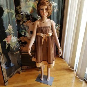 """R"" Size 8 Brown Gold Formal Sleeveless Dress"